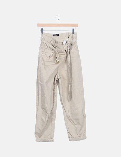 Jeans denim baggy beige