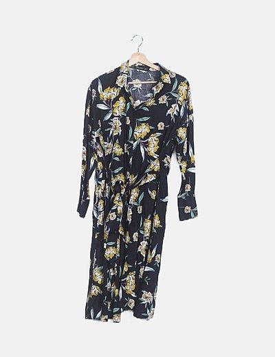 Vestido maxi floral negro