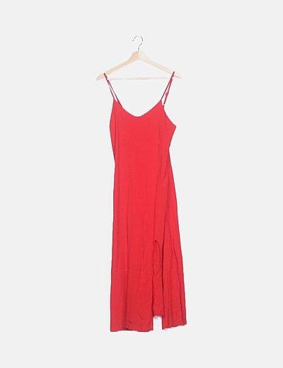 Vestido rojo tirantes maxi
