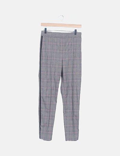 Pantalón traje cuadro galés gris