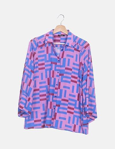 Traje estampado multicolor pantalón y camisa