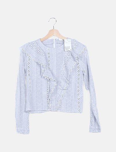 Camiseta azul crochet manga larga