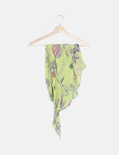 Pañuelo verde estampado floral
