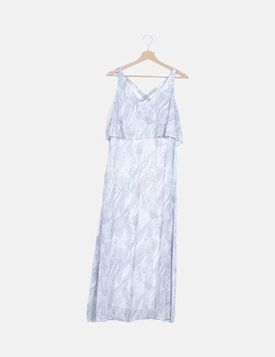 Vestido maxi estampado azul