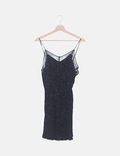 Vestido mini negro con strass