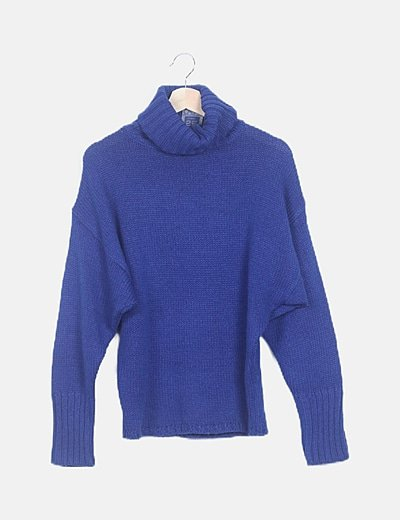 Jersey lana azul cuello vuelto