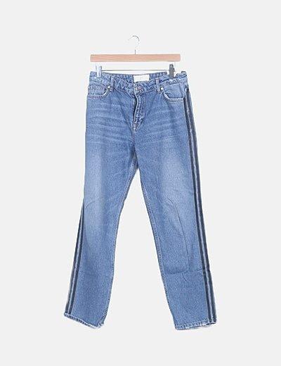 Jeans denim banda lateral