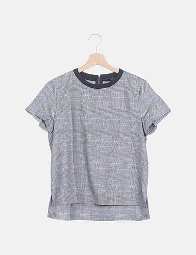 Camiseta cuadro galés gris