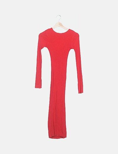 Vestido canalé rojo