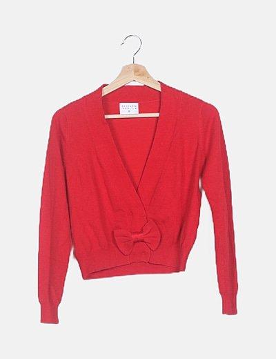 Chaqueta tricot roja con lazo