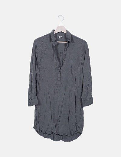 Blusa camisera larga verde khaki