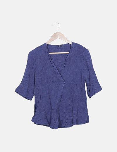 Blusa azul marino texturizada