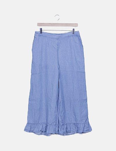 Pantalón fluido efecto denim