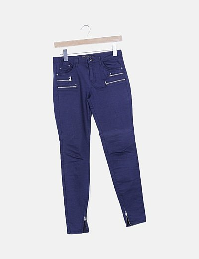 Jeans skinny azul marino detalle cremalleras
