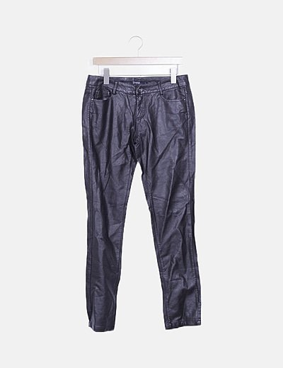 Jeans skinny marrón encerado