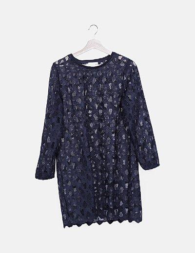 Vestido crochet azul marino