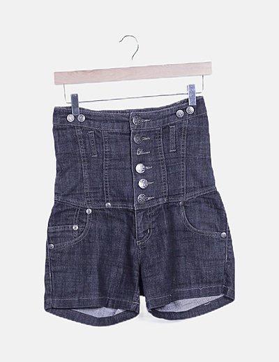 Short denim negro high waist