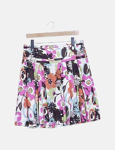Falda multicolor floral plisada