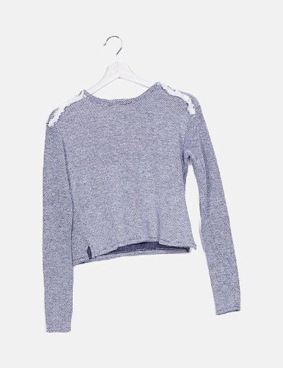 Jersey bicolor detalle flecos