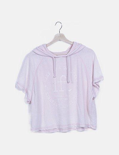 Camiseta rosa print con capucha