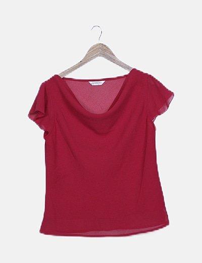 Blusa semitransparente roja