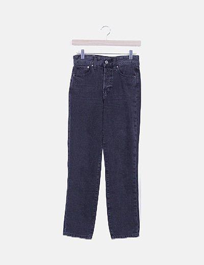 Pantalón denim negro high waist