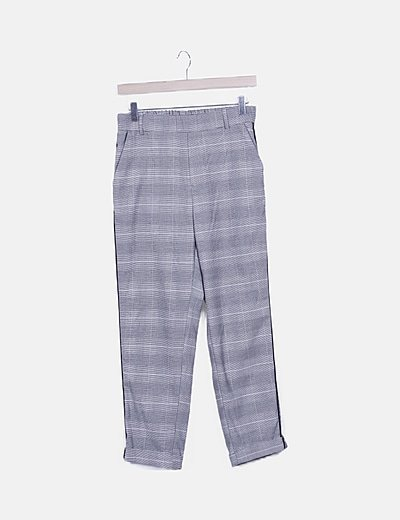 Pantalón pinzas gris cuadros