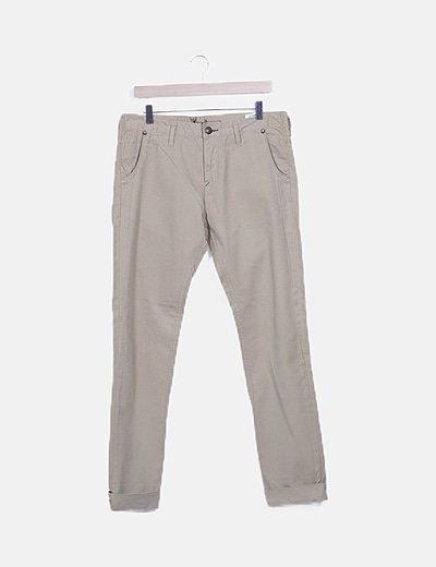 Pantalón recto color camel