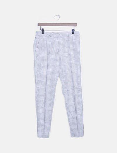 Pantalón pinzas beige estampado