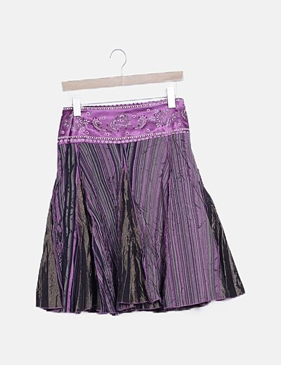 Falda midi estampada detalle abalorios