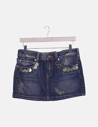 Mini falda denim abalorios