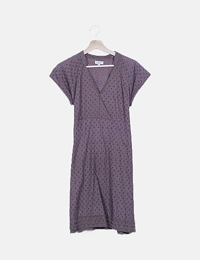 Vestido guipur taupé