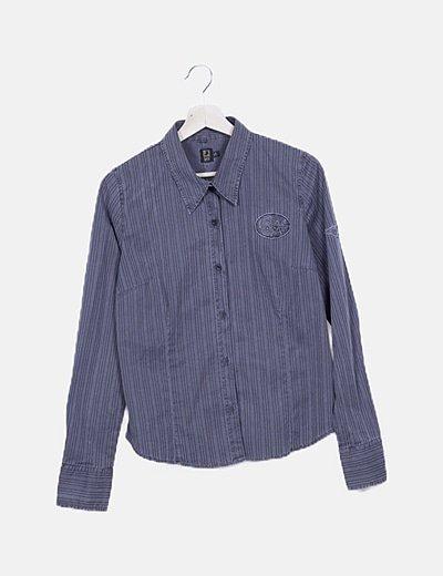 Camisa vintage rayas gris