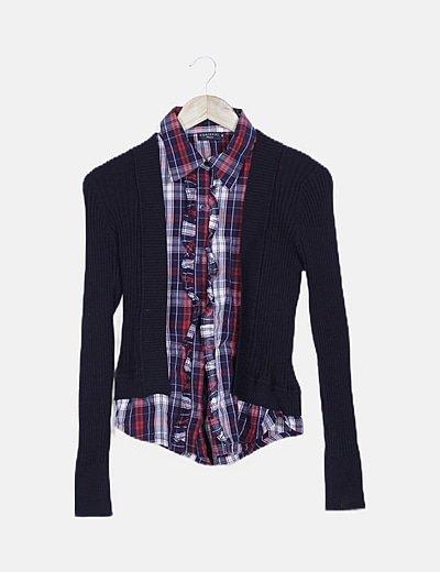 Jersey canalé combinado camisa