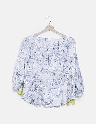 Blusa bardot blanca floral