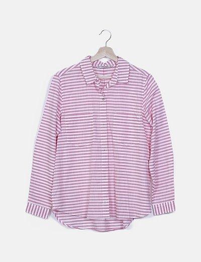 Camisa rayas bicolor detalle bolsillos