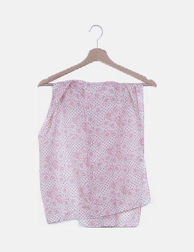 Pañuelo blanco estampado rosa