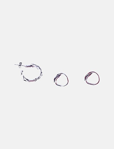 Pack pendientes y anillo plateados