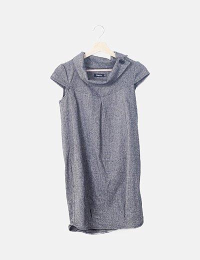 Vestido recto gris jaspeado