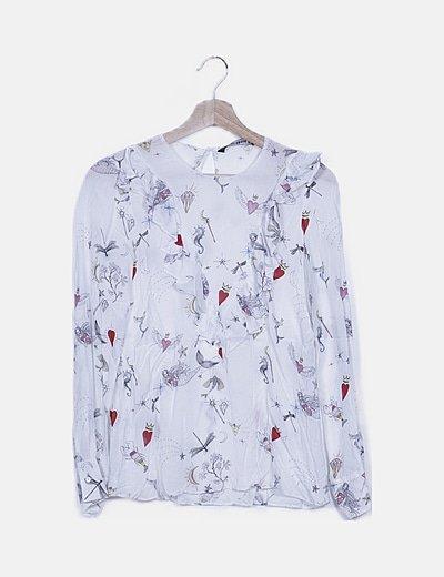 Blusa blanca estampado variado