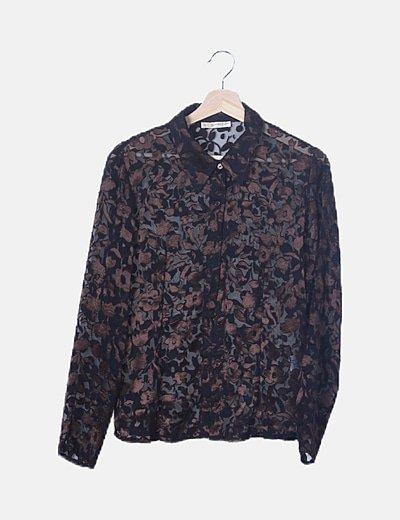 Camisa semitransparente negra estampado velvet