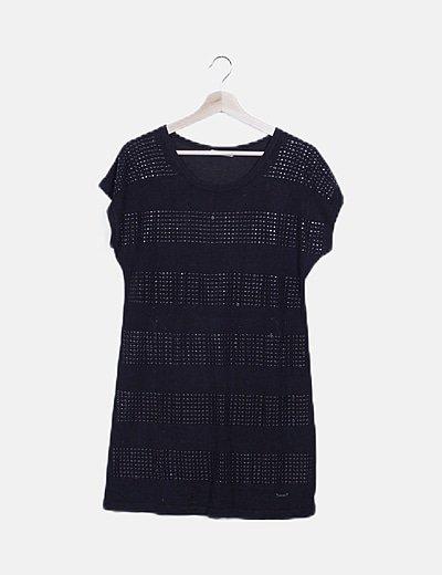 Vestido tricot negro tachas