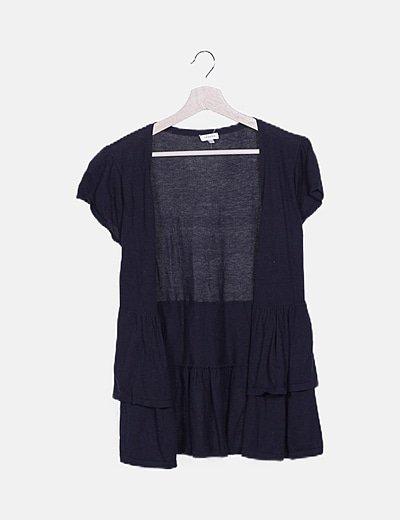 Chaqueta tricot negra manga corta