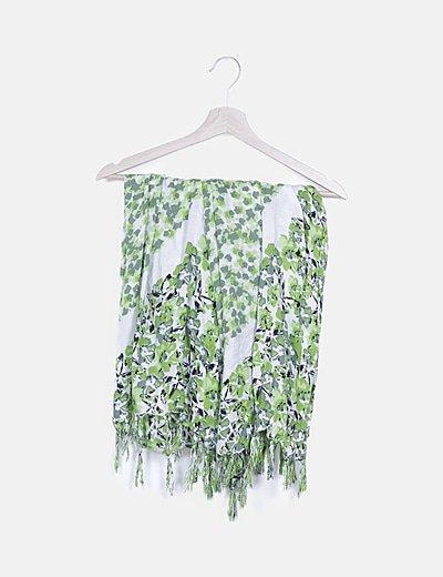 Foulard estampado blanco y verde