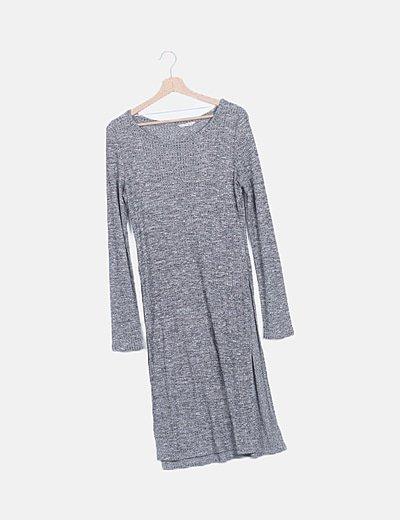 Vestido canalé gris jaspeado