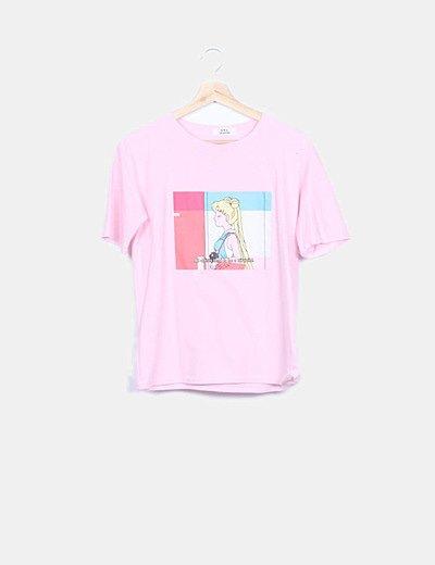Camiseta rosa print manga corta
