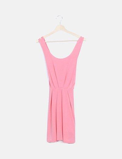 Vestido tirantes elástico rosa