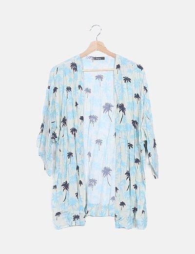 Kimono print palmeras azules