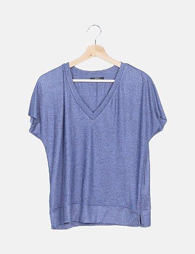 Camiseta canalé azul jaspeado