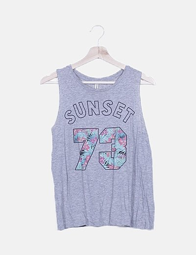 Camiseta sin mangas gris print números
